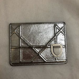 Christian Dior Metallic Silver Leather Card Case